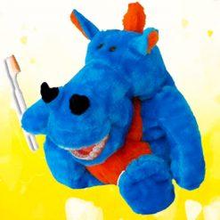 Fantoche com dente Pelúcia Luxo com Macro Arcada - Dinossauro Azul