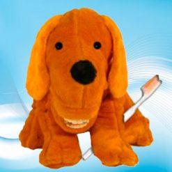 Fantoche Dentário Pelúcia Luxo com Macro Arcada - Cachorro Marrom