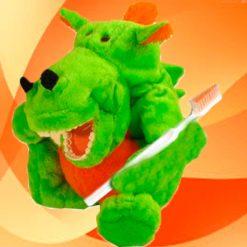 Fantoche Dentário Pelúcia Luxo com Macro Arcada - Dinossauro Verde